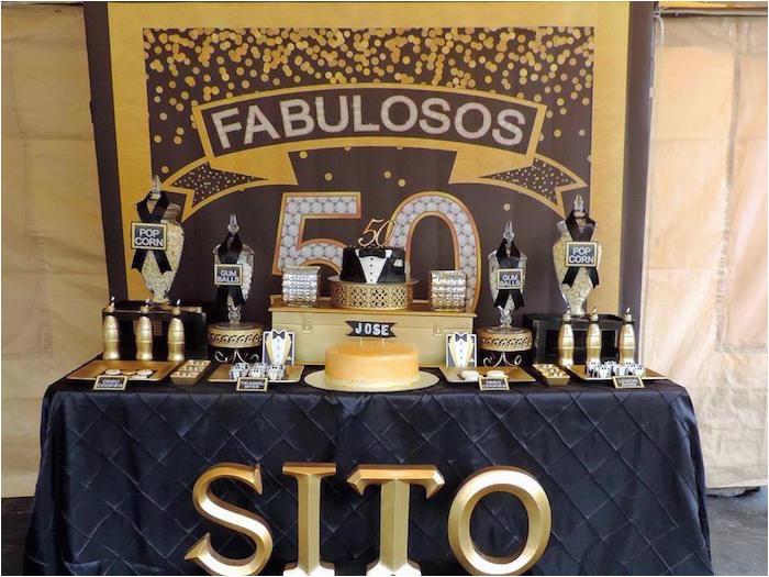 fabulous 50 black gold birthday party