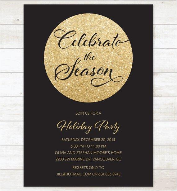 Black And Gold Birthday Invitations Free Christmas Party Invitation Glitter