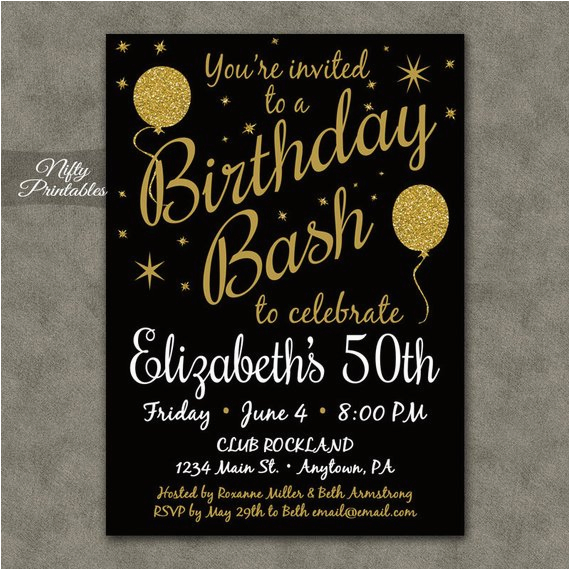 Black And Gold Birthday Invitations Free Printable Glitter 20 21 30th