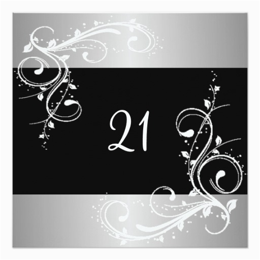 Black And Silver 21st Birthday Decorations Party White Floral Invitation