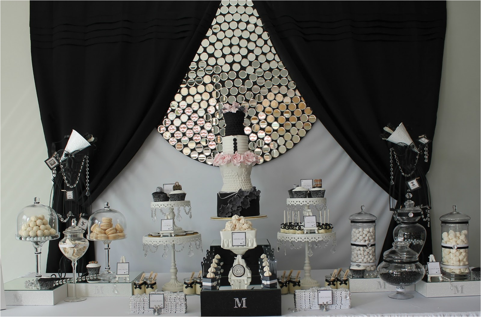 Black And Silver 21st Birthday Decorations Events By Nat Runway Catwalk White Dessert Table