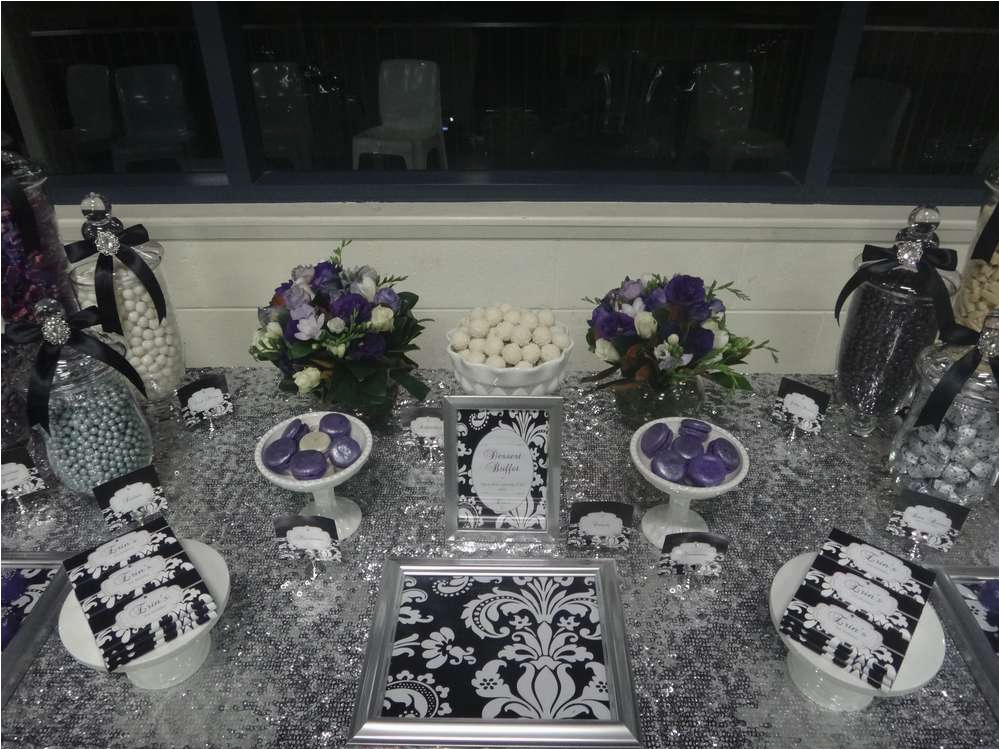Black And Silver 21st Birthday Decorations Purple White Party Ideas