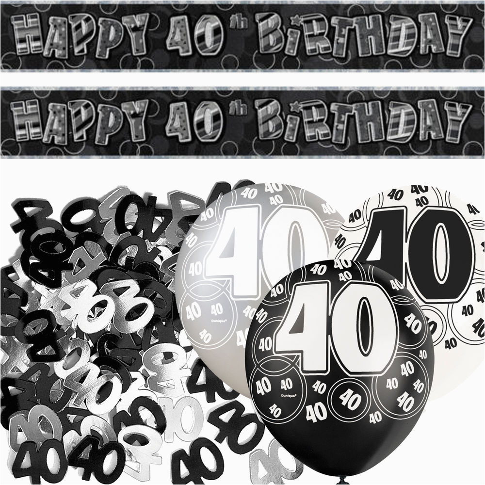 Black And Silver 40th Birthday Decorations Glitz Banner Party Decoration