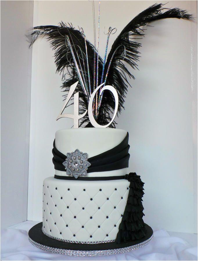 Black And Silver 40th Birthday Decorations White Elegant Cake