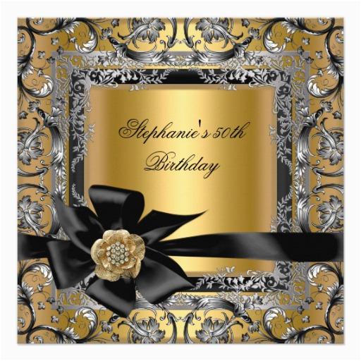 50th birthday party gold silver black bow invitation 161947216926744540
