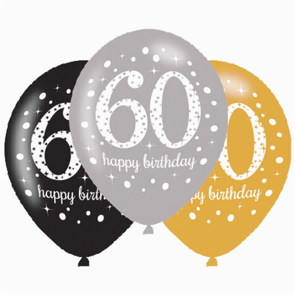 Black And Silver 60th Birthday Decorations 6 X Balloons Gold Party