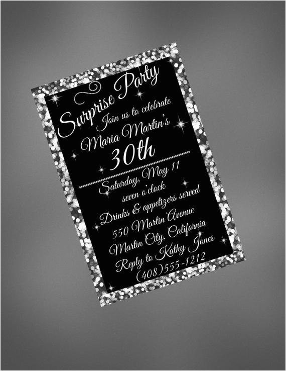 30th birthday invitation 30th black and