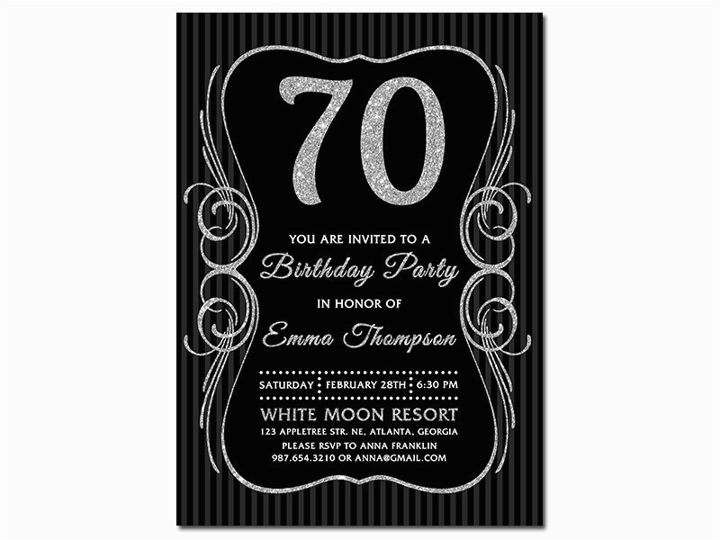 Black And Silver Birthday Invitations 70th Glitter 70 Bday