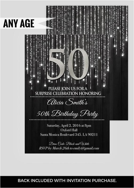 black silver 50th birthday invitations elegant