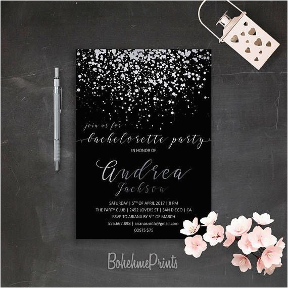 Black And Silver Birthday Invitations Bachelorette Invitation Printable