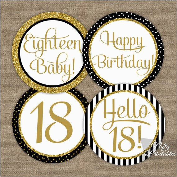 Black And White 18th Birthday Decorations Cupcake Toppers Gold Glitter