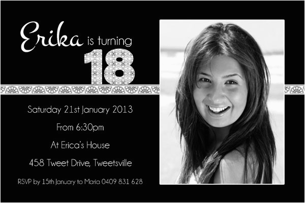 Black And White 18th Birthday Decorations Free Invitations Design