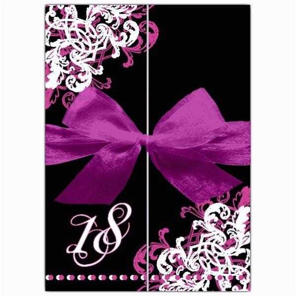 Black And White 18th Birthday Decorations Ornamental Corner Pattern Gatefold Invitations