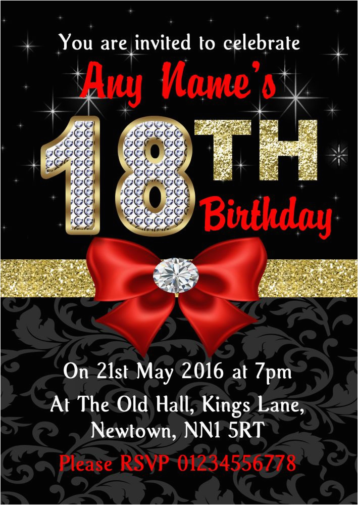 Black And White 18th Birthday Decorations Red Gold Diamond Party Invitations