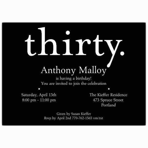 a thirty white on black 30th birthday invitations p 610 75 149k