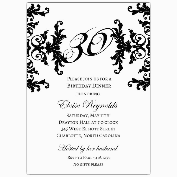 black and white decorative framed 30th birthday invitations p 603 57 760 30