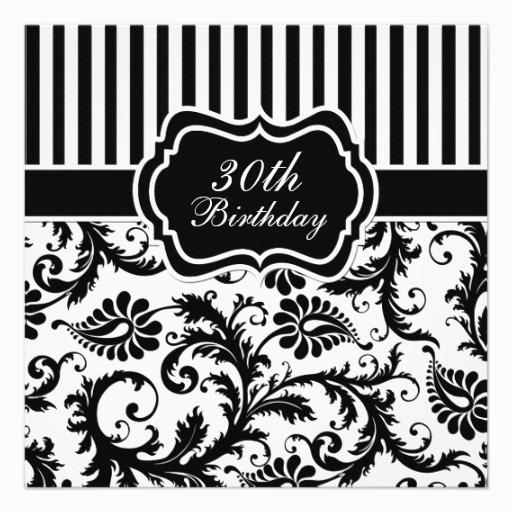 Black And White 30th Birthday Invitations Floral Stripe Invite 13 Cm