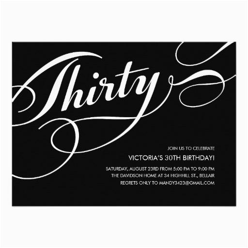 black elegant 30th birthday invitations 161944798175657857