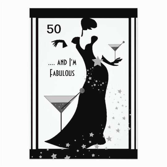 50th birthday party diva art deco black white card 161034149406891673