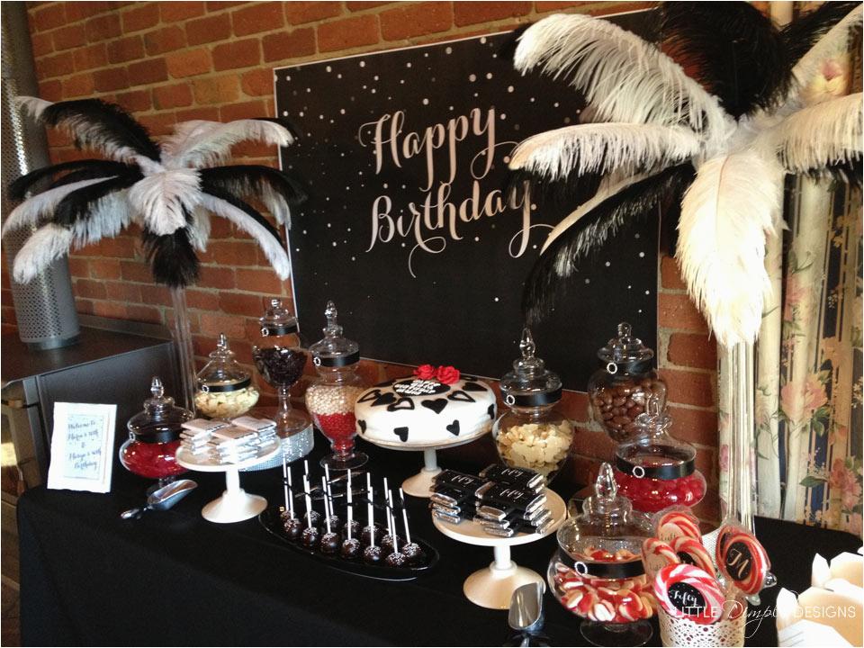 black white classy birthday theme