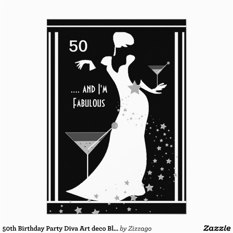 Black And White 50th Birthday Invitations Party Diva Art Deco