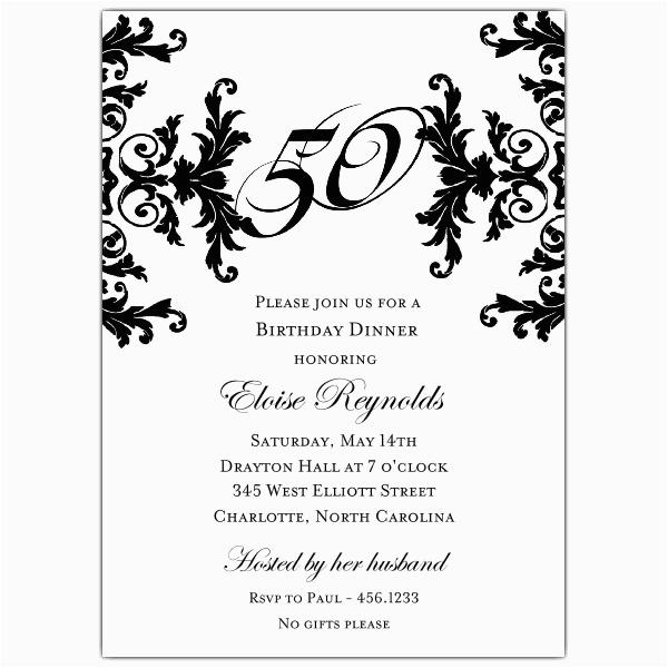 black and white decorative framed 50th birthday invitations p 603 57 760 50
