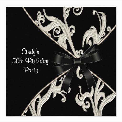 black white swirl 50th birthday party invitation 161317061658614696