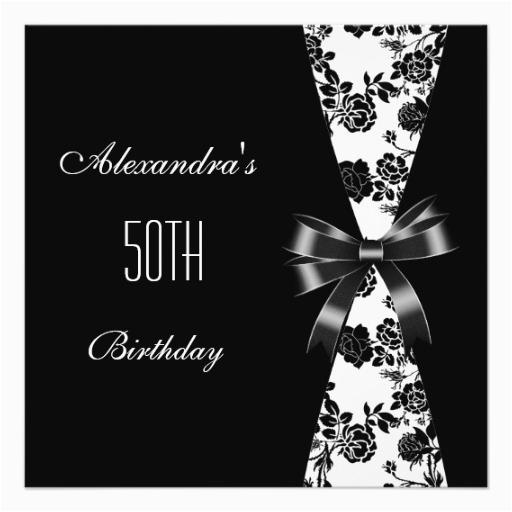 damask black white 50th birthday invitation floral 161049364319344850