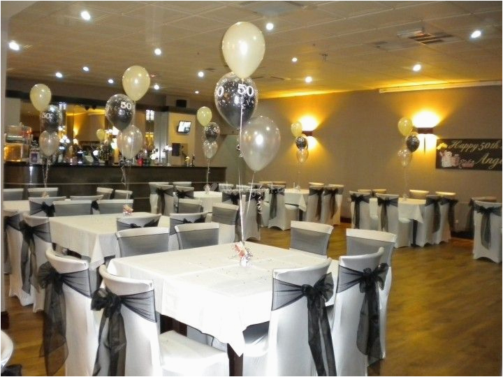 Black And White 50th Birthday Party Decorations Elegant