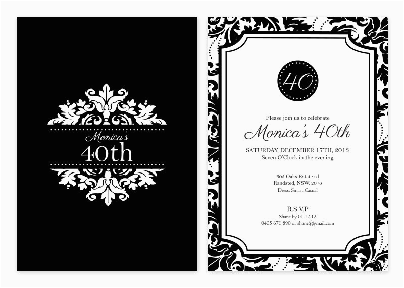 Black And White 50th Birthday Party Invitations Invitation Template Free