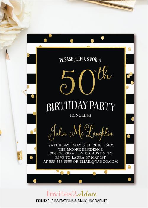 Black And White 50th Birthday Party Invitations Stripe Invitation Gold Confetti
