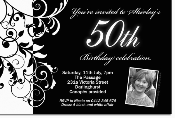 Black And White 50th Birthday Party Invitations Free Design