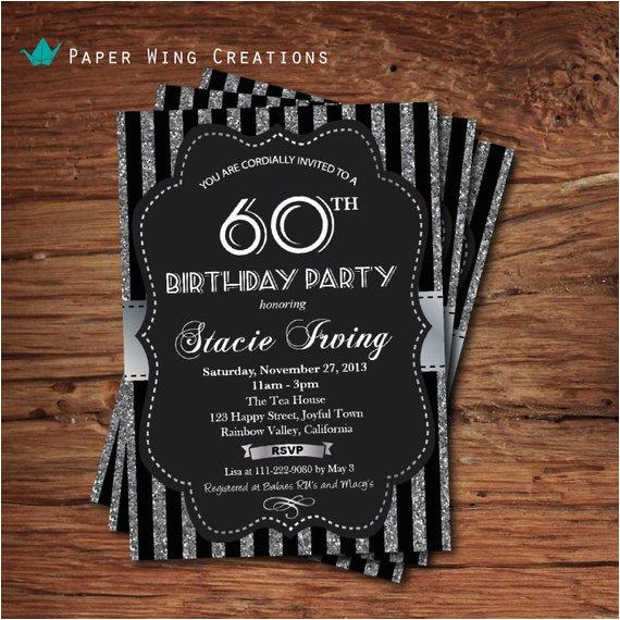 Black And White 60th Birthday Invitations Invitation Silver Glitter By