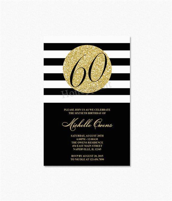 Black And White 60th Birthday Invitations Gold Party Invitation