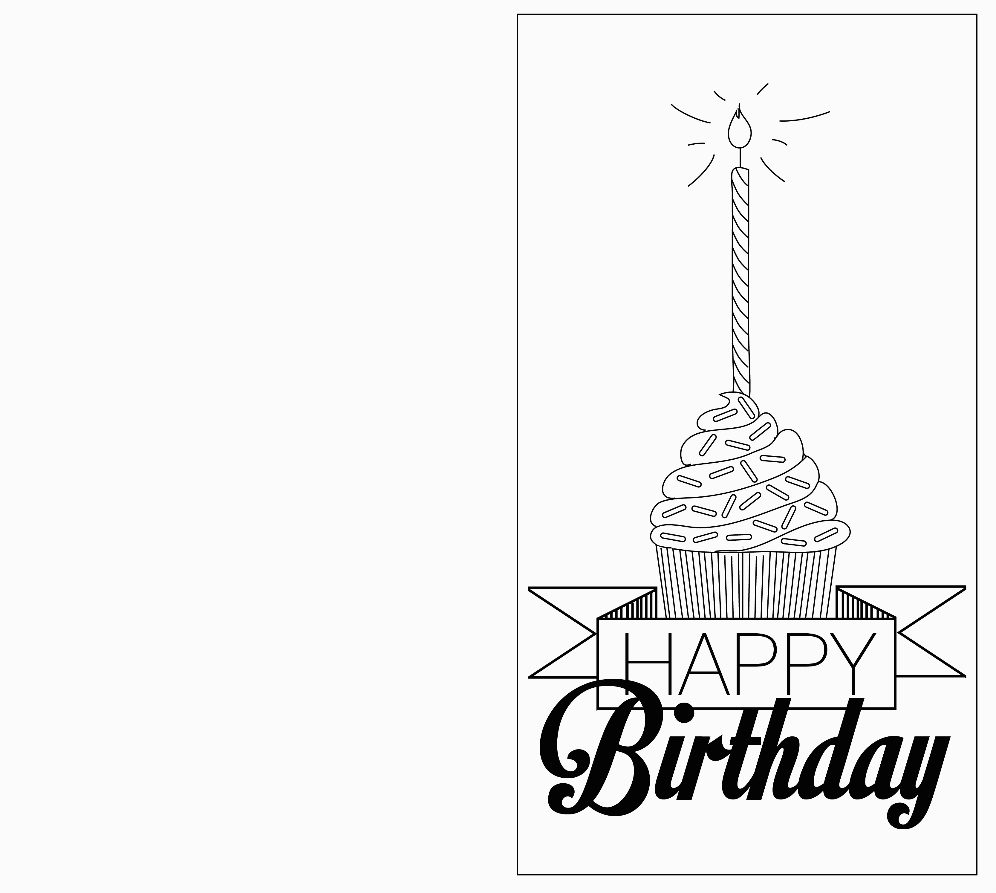 Black and White Birthday Cards Printable 6 Best Images Of Printable Folding Birthday Cards