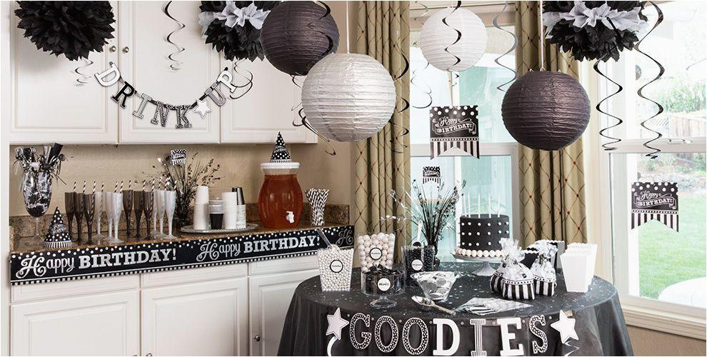 black white birthday party supplies