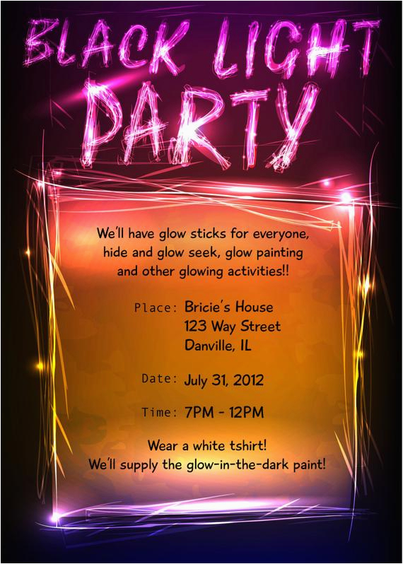 Black Light Birthday Party Invitations Unavailable Listing On Etsy