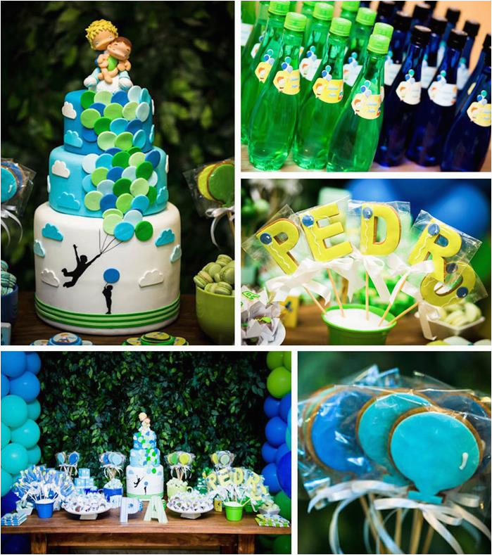 green blue balloon themed birthday party