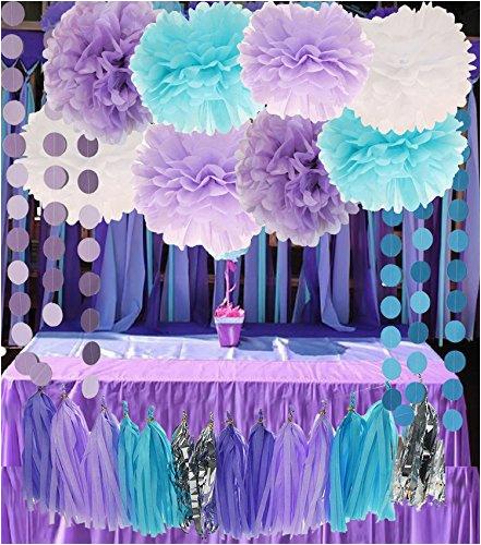 33650055 26pcs Purple Lavender Baby Blue White Shower Tissue Paper Pom Tassel Garland