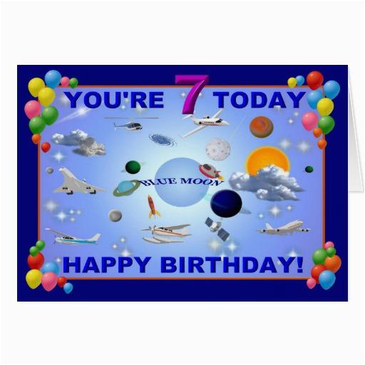 blue moon 7th birthday card zazzle