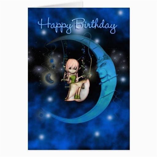 happy birthday blue moon fairy stars and sky card zazzle