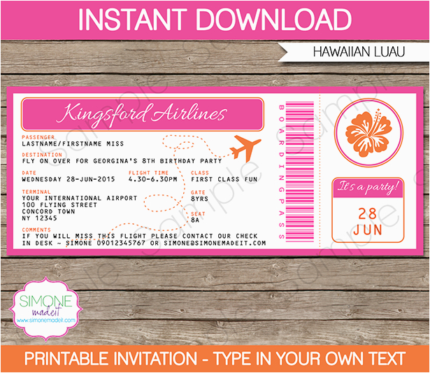 Boarding Pass Birthday Invitation Template Free Luau Invitations Party