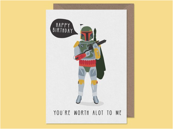star wars birthday card boba fett cult hero by studioboketto