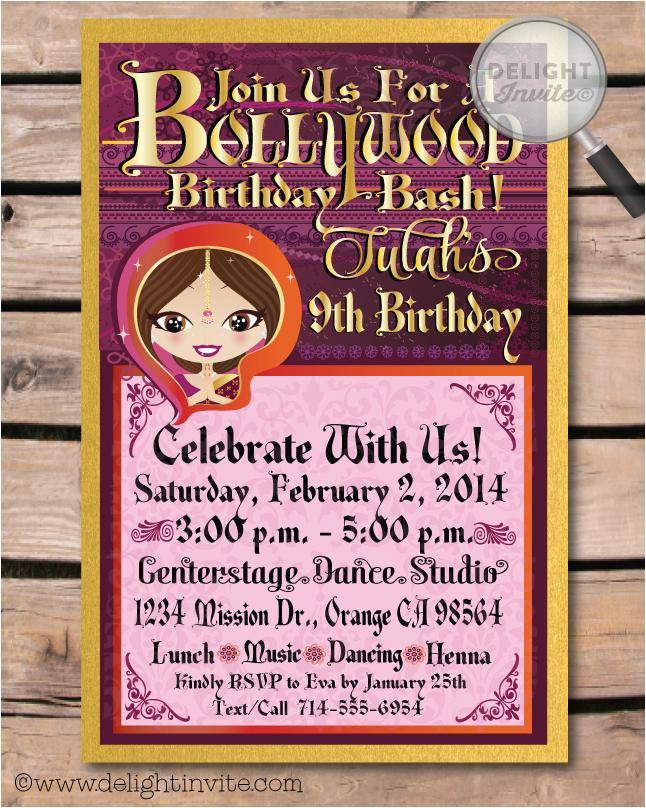 bollywood birthday invitation bollywood birthday