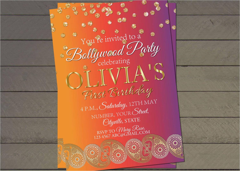 bollywood birthday party invite indian wedding invitation