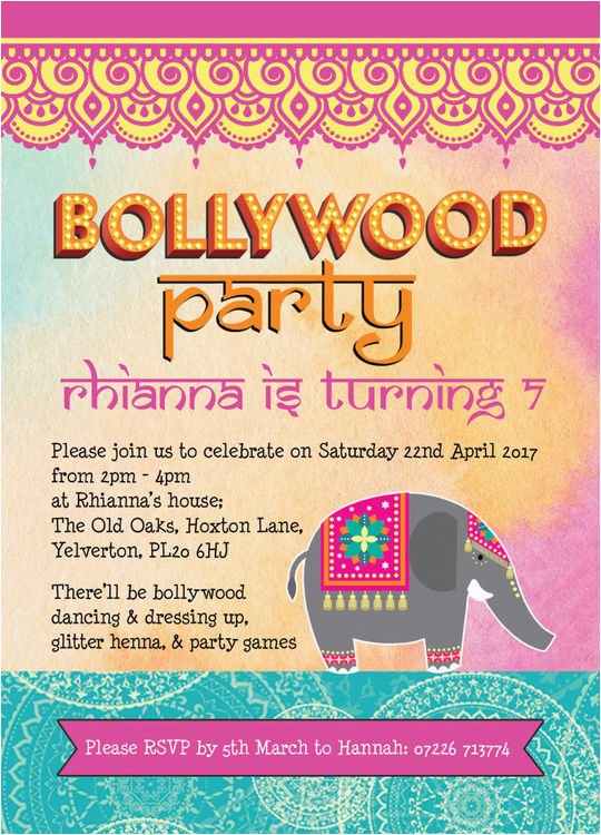 bollywood children 39 s party invitation from 0 80 each