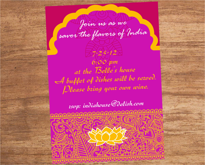 Bollywood Birthday Invitations India Indian Food Party Invitation