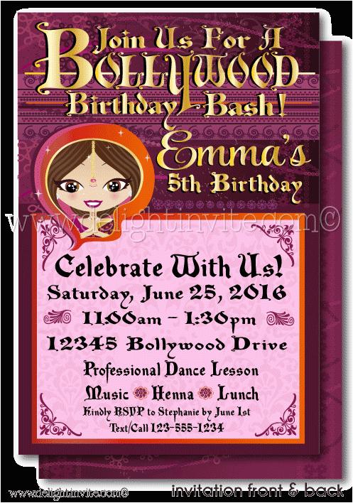 printable digital bollywood party birthday invitation di