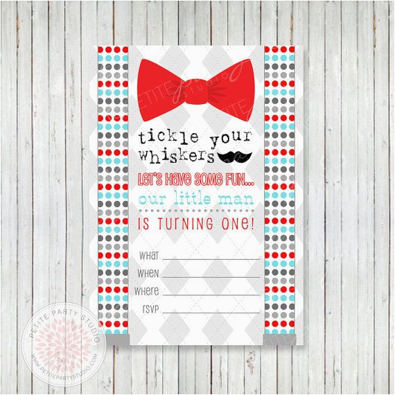 Bow Tie Birthday Invitations Instant Download Little Man Mustache Bow Tie Printable