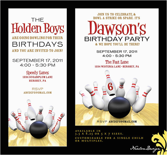 Bowling Alley Birthday Party Invitations 24 Outstanding Bowling Invitation Templates Designs